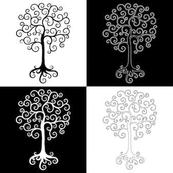 Набор декоративных элементов дизайна деревьев черного и белого.