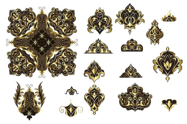 オリエンタルスタイルの装飾要素のセット
