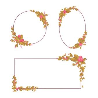 白い背景に花の要素を持つ装飾フレームのセット