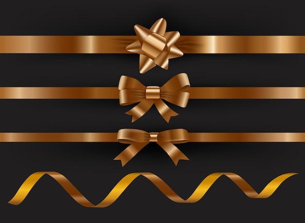 Набор декоративных золотых лент на черном фоне