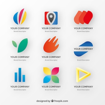 Set of decorative logos with colored elements