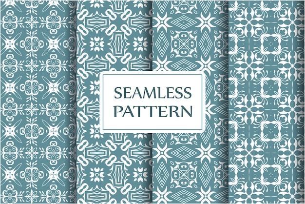 壁紙、テキスタイル、ラッピングの装飾的なシームレスパターンのセットです。絶妙なフローラルバロックテンプレート