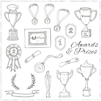 트로피, 메달, 우승자 상, 챔피언 컵, 리본 장식 스케치 상 세트.