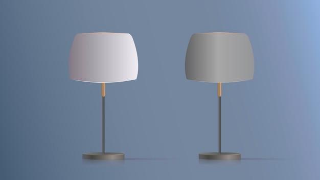 장식 테이블 램프의 집합입니다. 실크 전등갓과 금속 다리가있는 오리지널 모델. 거실, 침실, 공부 및 사무실 용. 삽화