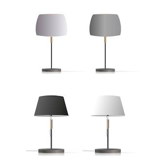 장식 테이블 램프의 집합입니다. 실크 전등갓과 금속 다리가있는 오리지널 모델.
