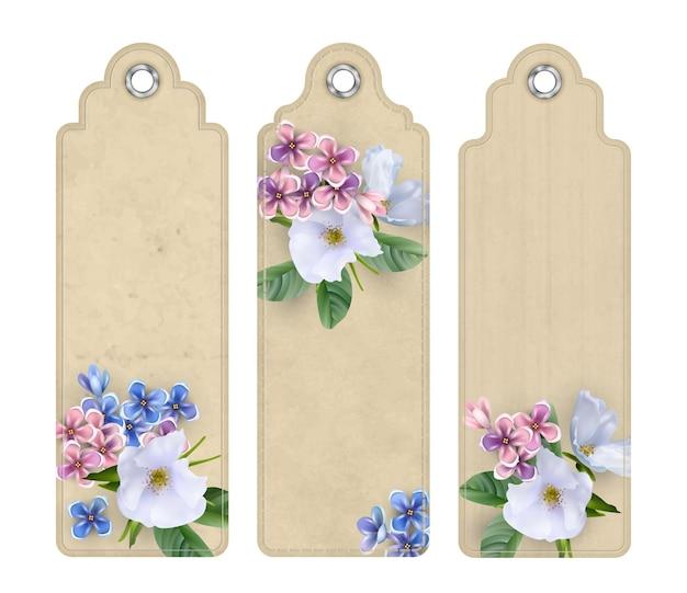 白い花の装飾的なタグやブックマークのセット
