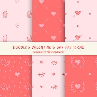 装飾的なバレンタインのパターンのセット