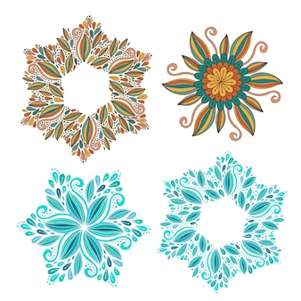Набор декоративных векторных рамки. современные элементы дизайна. красивый фон для упаковки или печати