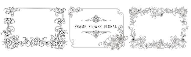 装飾的なヴィンテージ花のフレームとボーダーのセット