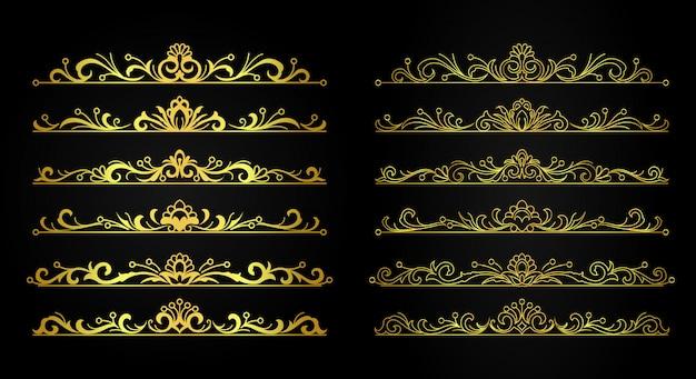 Набор декоративных старинных золотых орнаментов и штрихов