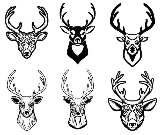 白い背景の上の鹿の頭のイラストのセットです。ポスター、エンブレム、看板、バッジの要素。画像