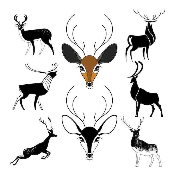 さまざまなスタイルのロゴの鹿のサインのセット。黒のシルエット。
