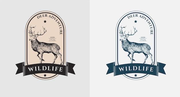 Набор старинных логотипов оленей дикой жизни