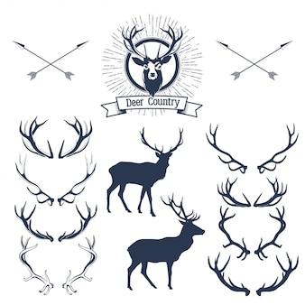 Набор силуэт оленей, голова оленя и рога. иллюстрация