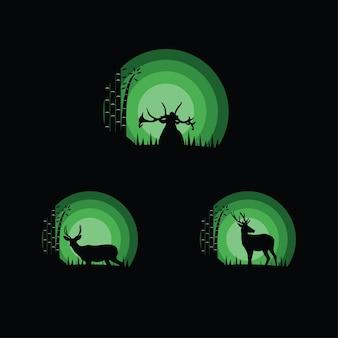 鹿のシルエットイラストのセット