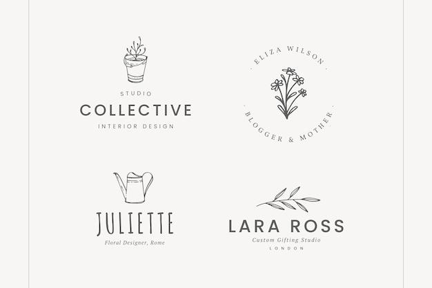 Набор тонких рисованной логотипов
