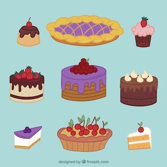 手描きのスタイルでおいしいケーキのセット