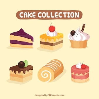 Set of delicious cakes in 2d style