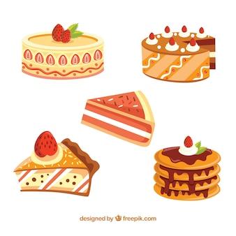 2dスタイルのおいしいケーキのセット
