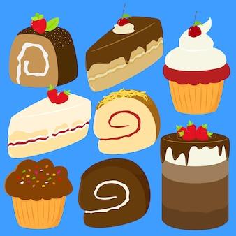 おいしいケーキのセットベクトル