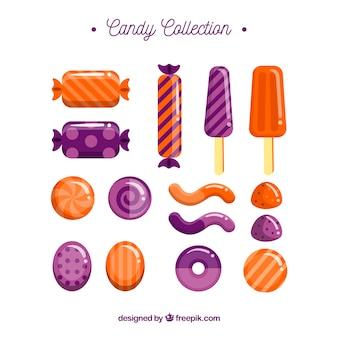 フラットスタイルのおいしいキャンディーのセット