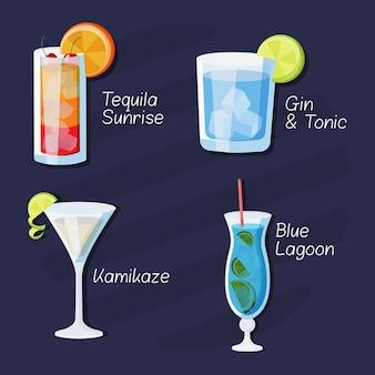 Набор вкусных нарисованных коктейлей