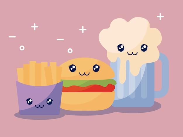 おいしいハンバーガーとファーストフードのかわいいキャラクターのセット