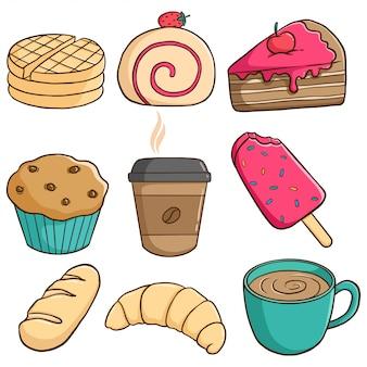 Набор вкуснейшей выпечки с кусочком торта, кекса, кофе и мороженого с красочным стилем каракули