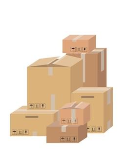 배달 상자 컨테이너 또는 메일 상자 세트. 깨지기 쉬운 징후가있는 상자. 골판지 상자