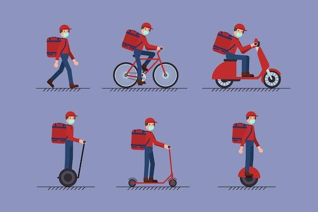 발, 스쿠터, 자전거, 모노 휠, 세그웨이에 얼굴 마스크와 배달 남자의 집합입니다. covid-19 코로나 바이러스 개념.
