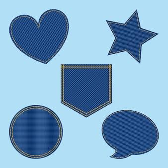 Набор джинсовой пятнистости формы сердце пузырь звезды круг