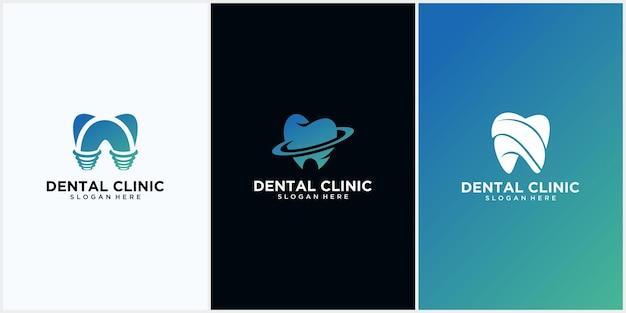 Набор концепции дизайна логотипа стоматологической клиники, логотип зубного имплантата, современный шаблон логотипа стоматологической помощи