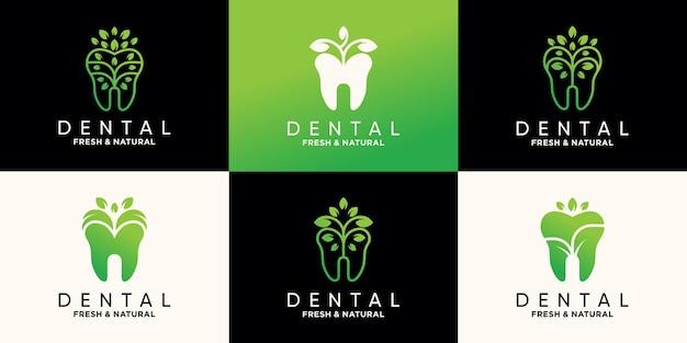 Набор стоматологических шаблонов дизайна логотипа с природным стилем листьев premium векторы