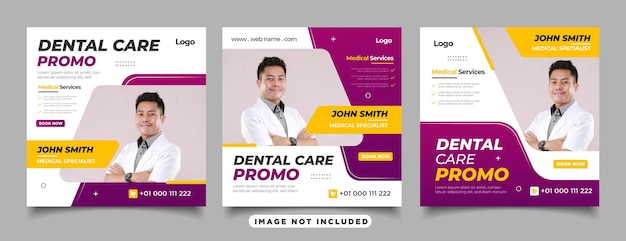 ソーシャルメディア投稿テンプレートの歯科医と歯科治療のセット