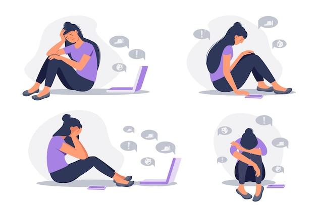 Набор депрессивной женщины, сидящей с телефоном перед экраном ноутбука в окружении пузырей сообщений. кибер-издевательства в социальных сетях и концепция злоупотреблений в интернете. векторная иллюстрация плоский мультфильм