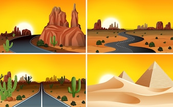 Set of desert landscape