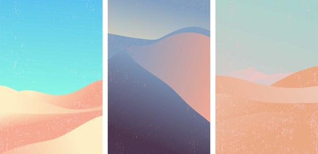 사막 패턴 벡터의 집합입니다. 인기있는 그라디언트 색상의 풍경.