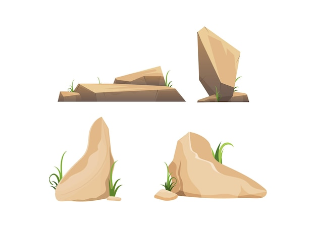 사막 돌 또는 바위 흰색 배경에 고립의 집합입니다.