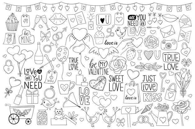 낙서 스타일의 디자인 요소 집합입니다. 발렌타인 데이. 블랙 화이트 그림