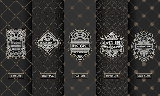 Набор элементов дизайна этикетки логотип и рамка
