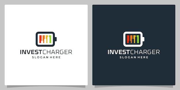 디자인 로고 충전 및 차트 투자 금융의 집합입니다. 프리미엄 벡터