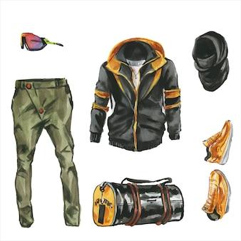 男性のためのデザイナーの服、靴、バッグのセット。ファッション衣装の水彩イラスト。男性のストリートスタイルの手描きの絵。トレンディテックウェアコレクション