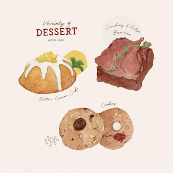 디저트 버터 레몬 케이크 브라 우니와 쿠키 수채화 스타일 세트