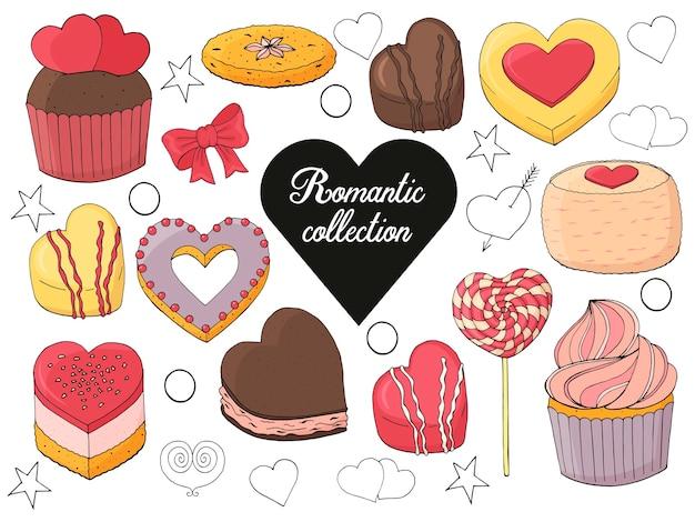 バレンタインデーのデザート、ケーキ、キャンディーのセット。手描きイラスト。
