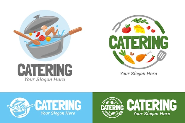 Набор подробных логотипов кейтеринга