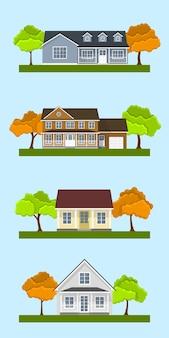 詳細なカラフルなコテージ住宅のセット。スタイルのモダンな建物。図