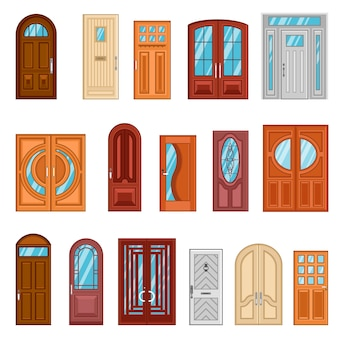 詳細なカラフルなフロントドアのセット