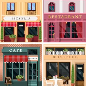 詳細なフラットデザインのレストランやカフェのファサードアイコンのセットです。レストランビジネスのためのクールなグラフィックエクステリアデザイン。