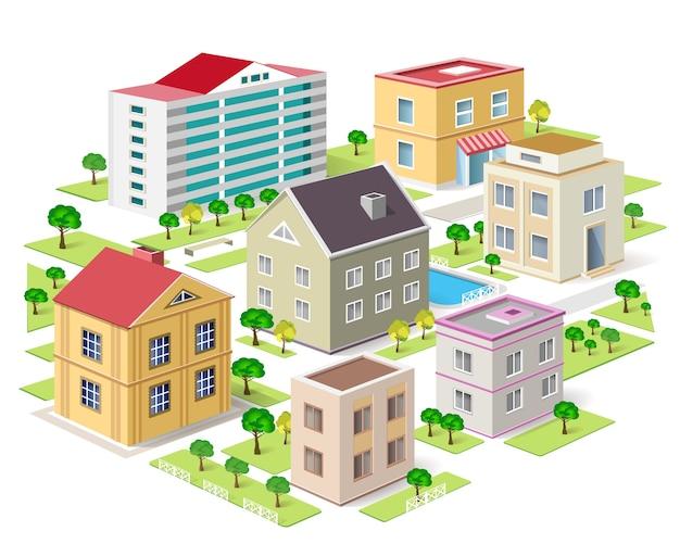 詳細な等尺性都市の建物のセット。等尺性都市。図。