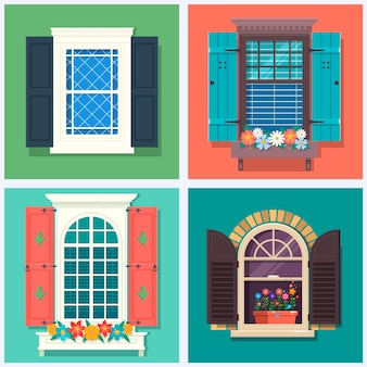 Set of detailed various colorful windows